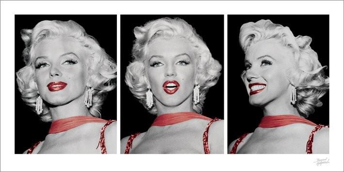 Marilyn Monroe - Red Dress Triptych Art Print