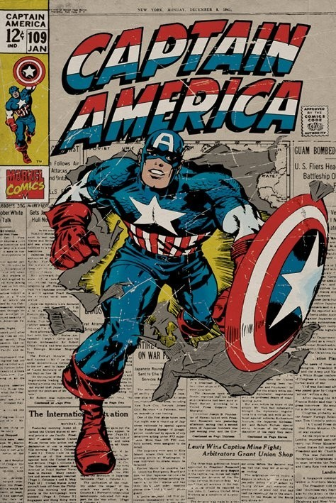 marvel captain america retro poster sold at europosters. Black Bedroom Furniture Sets. Home Design Ideas