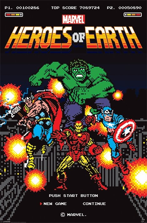 Marvel Retro - 8-Bit Poster, Art Print