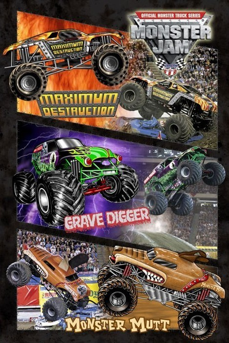 Monster jam - montage Poster, Art Print