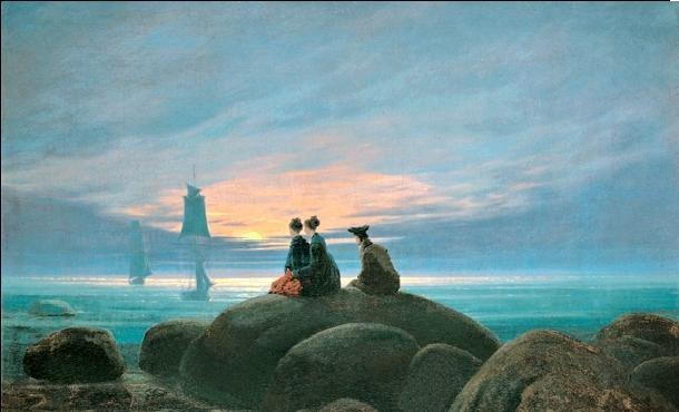Moonrise Over the Sea, 1822 Art Print
