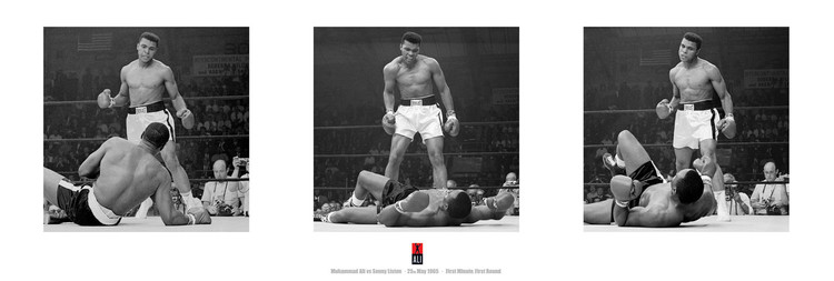 Pôster Muhammad Ali vs. Sonny Liston - triptych