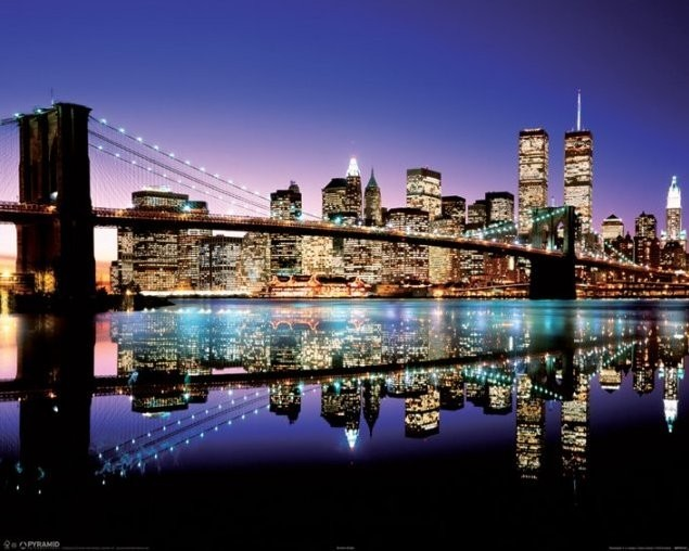 new york brooklyn bridge evening poster sold at europosters. Black Bedroom Furniture Sets. Home Design Ideas
