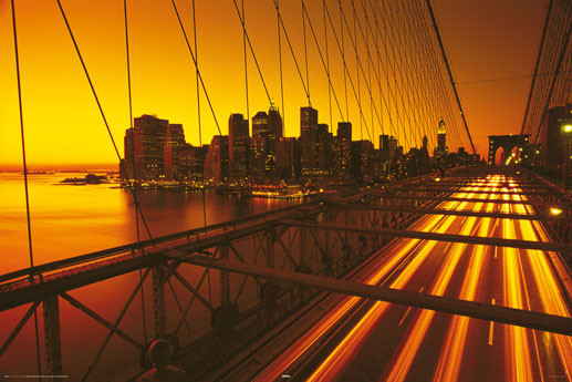 new york brooklyn bridge yellow poster sold at. Black Bedroom Furniture Sets. Home Design Ideas