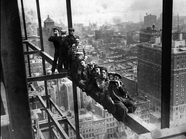 New York - Construction Workers on scaffholding Art Print