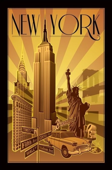 new york illustration poster sold at europosters. Black Bedroom Furniture Sets. Home Design Ideas