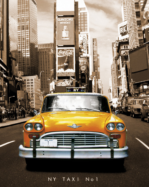 New York taxi no 1 - sepia Poster, Art Print
