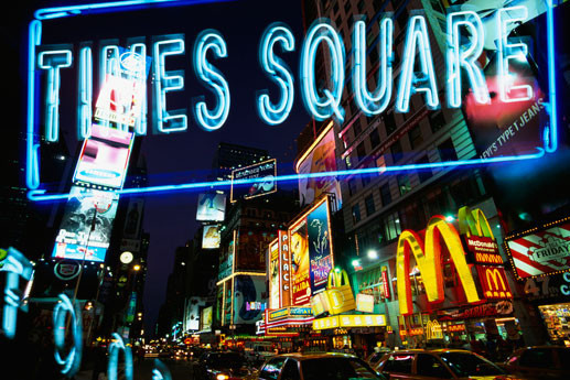 new york times square neon poster sold at europosters. Black Bedroom Furniture Sets. Home Design Ideas