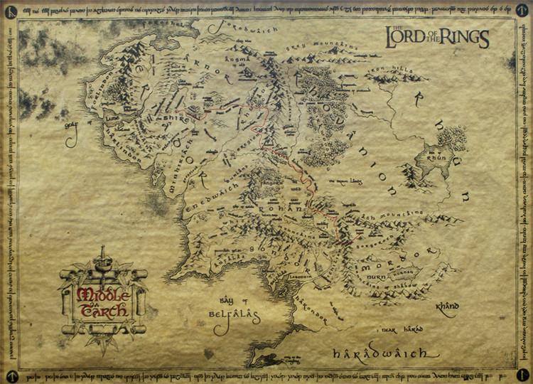 Poster O Senhor dos Anéis - mapa da Terra Média (special)