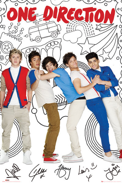 One Direction - cartoon Poster, Art Print