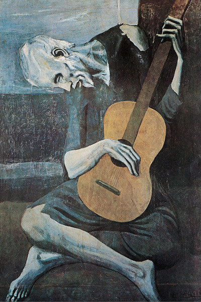 the old guitarist essay The old guitarist's composition is a nod to el greco as with all of the pieces from the blue period, this piece is directly related to the artist el greco.
