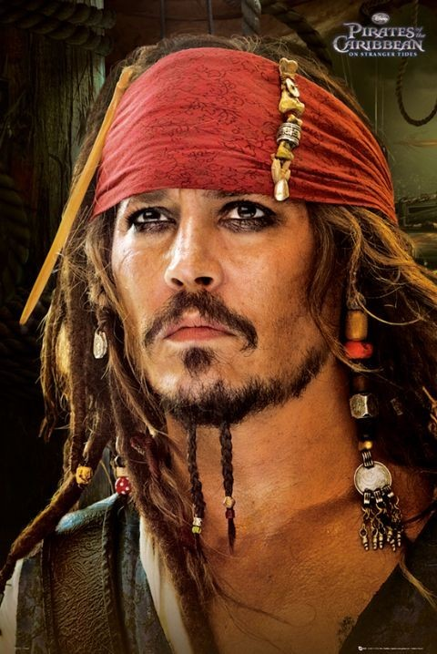 Pirates of the caribbean 4 red bandana poster sold at europosters - Maquillage pirate homme ...