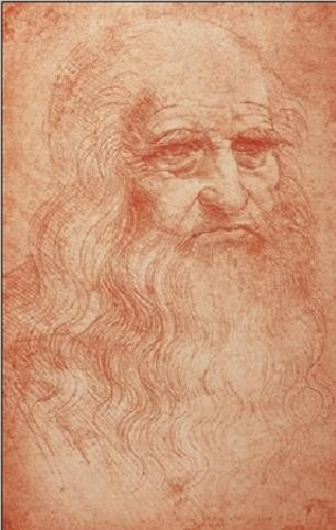 Portrait of a man in red chalk - self-portrait Art Print