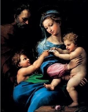 Raphael Sanzio - Madonna of the Rose - Madonna della rosa, 1520 Art Print