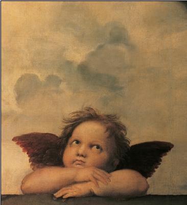 Raphael Sanzio - Sistine Madonna, detail – Cherubs, Angels 1512 Art Print