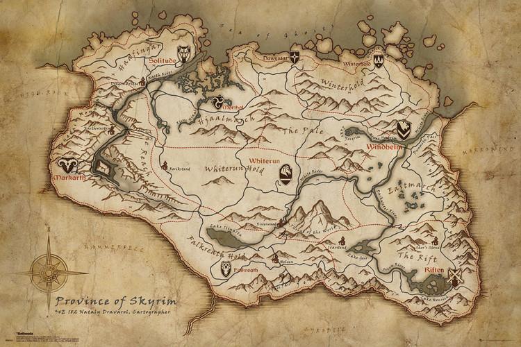 Skyrim - Map Poster