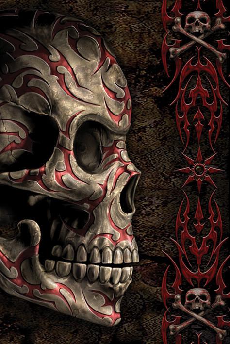 Spiral - skull tattoo Poster