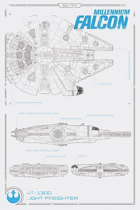 Star Wars Episode VII: The Force Awakens - Millennium Falcon Plans Poster, Art Print
