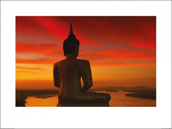 Stuart Miekle - Sun Setting over the Mekong Art Print