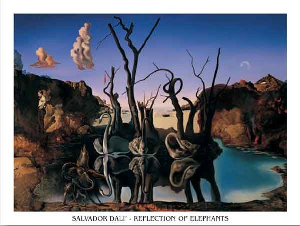 Swans Reflecting Elephants, 1937 Art Print