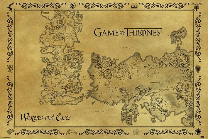 Poster The Game Of Thrones - A Guerra dos Tronos mapa Antigo