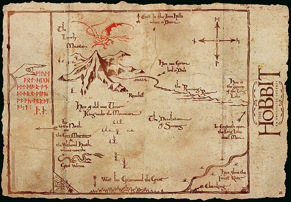 the hobbit middle earth map poster