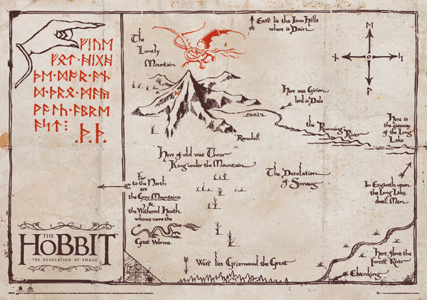 the hobbit the lonely mountain map special poster