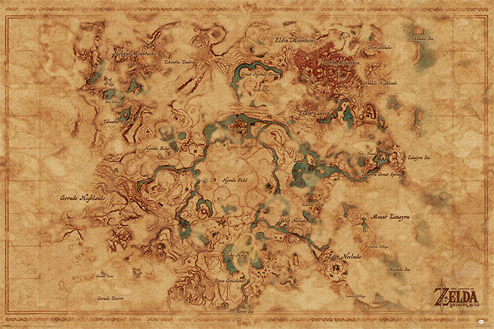 The Legend Of Zelda Breath Of The Wild Hyrule World Map Poster Sold At Europosters