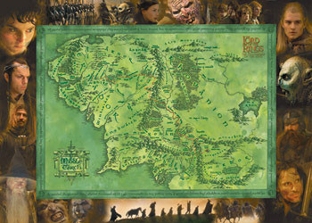 the lord of the rings middle earth map poster