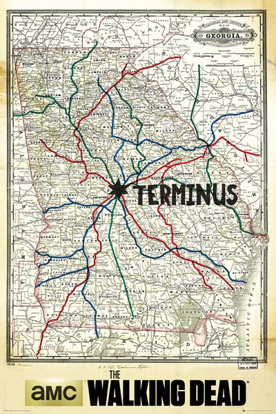 Mapa The Walking Dead.The Walking Dead Terminus Map Poster Sold At Europosters