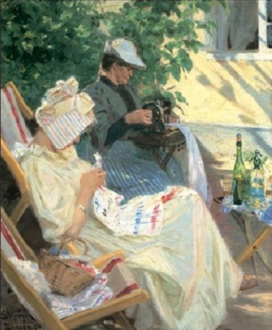 Two women in the garden Art Print