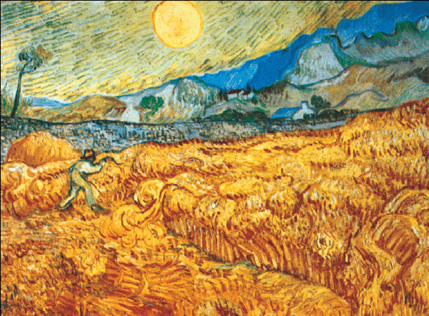 Wheat Field with Reaper, 1889 Art Print