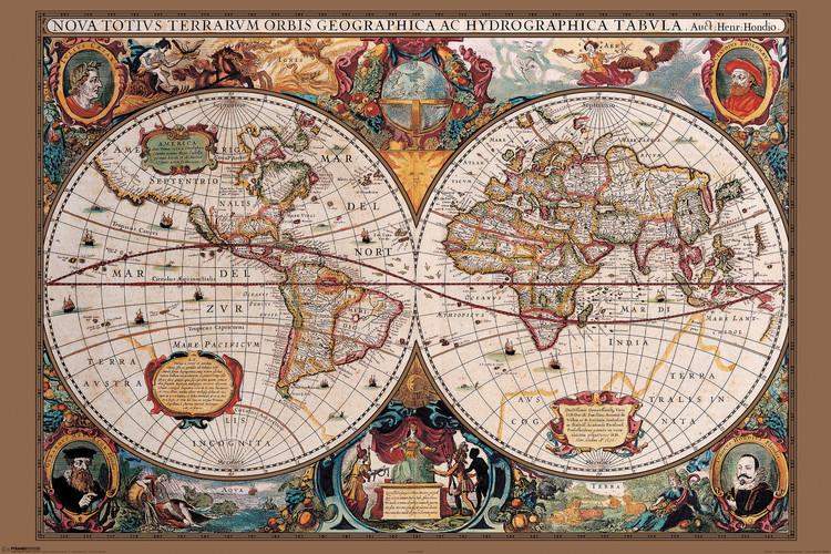 Poster World Map - 17th Century