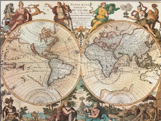World Map - Antique Style Art Print