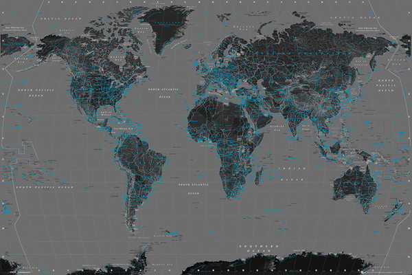 World map black and blue poster sold at europosters world map black and blue poster gumiabroncs Choice Image