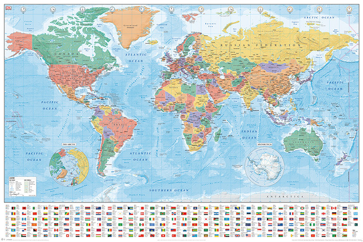 World Map - Flags and Facts Poster