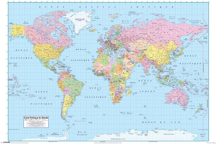 World map political fr poster sold at abposters world map political fr poster gumiabroncs Choice Image