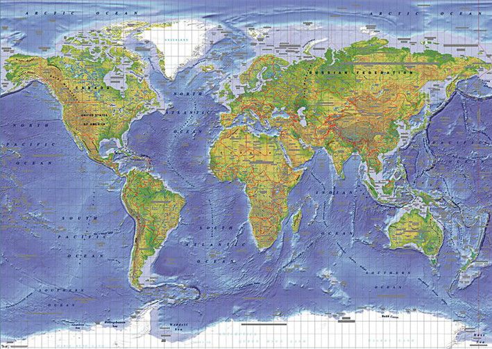World Map - Psychical Map of the World Poster, Art Print