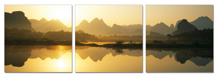 China - Calm Water in the Mountains Mounted Art Print