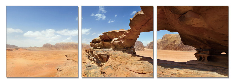 Jordan - Natural bridge and panoramic view of Wadi Rum desert Mounted Art Print