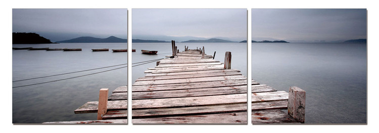 Misty Morning - Wooden Jetty Mounted Art Print