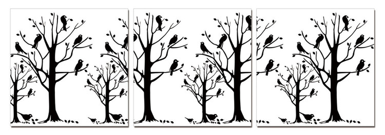 Modern design - black trees Mounted Art Print
