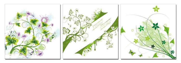 Modern Design - Green Flowers Mounted Art Print