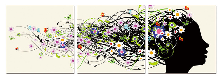 Modern Design - Hair full of Flowers Mounted Art Print