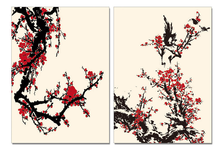 Modern Design - Red Blossoms Mounted Art Print