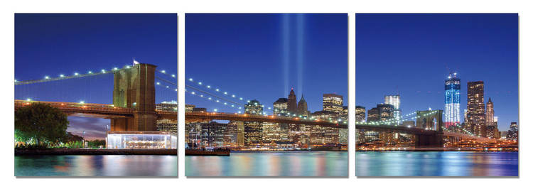 New York - Tribute in Light from the Distance Mounted Art Print