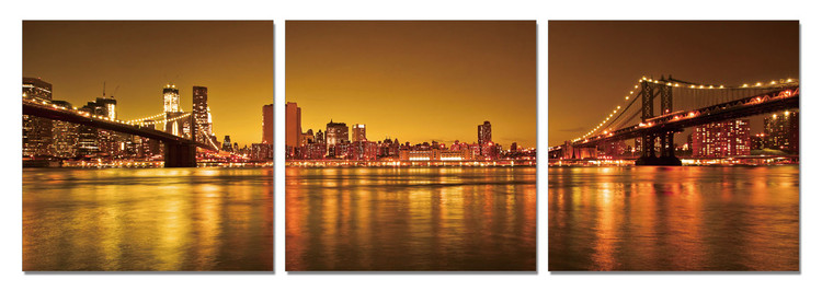 New York - Two Ways to Manhattan Mounted Art Print