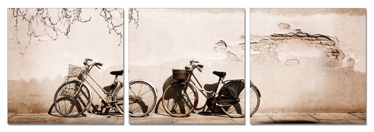 Old Bicycles Mounted Art Print