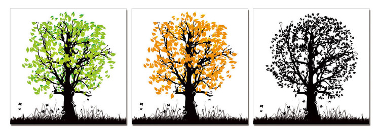 Painted Colorful Trees Mounted Art Print