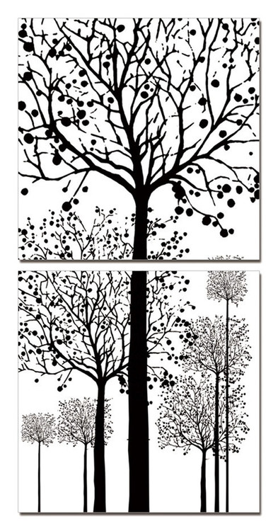 Painted Trees Mounted Art Print